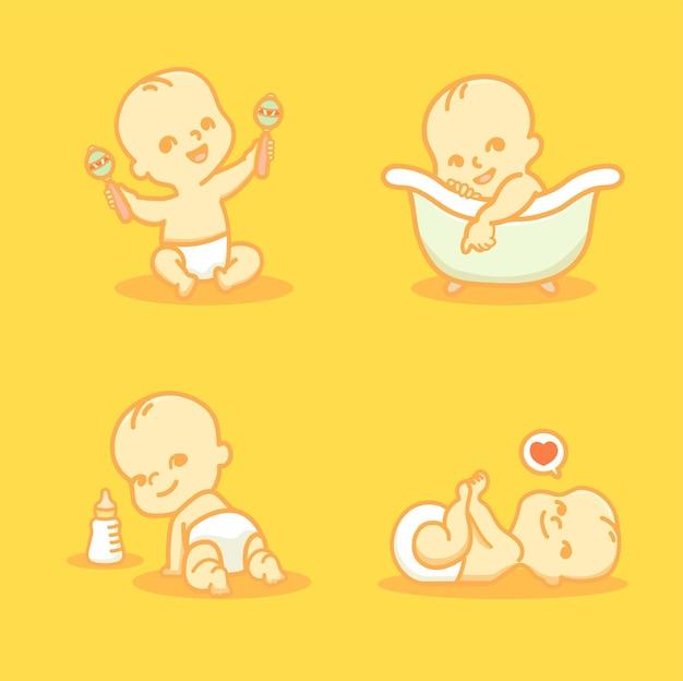 Set di carino piccolo bambino in pannolino. il bambino dorme, si siede, gattona e fa il bagno. illustrazione di vettore del fumetto.