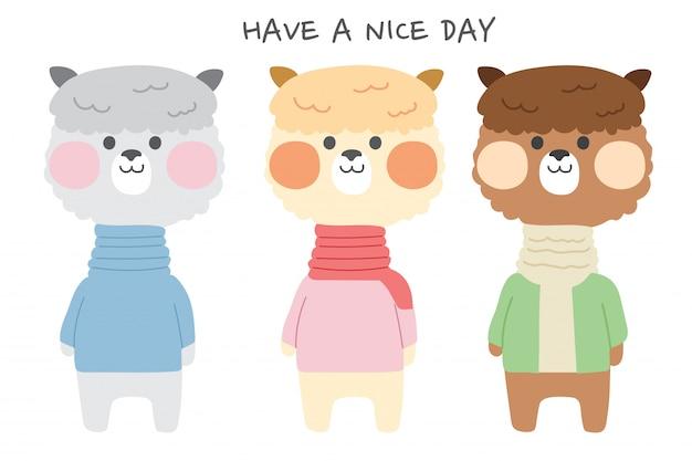 Set di alpaca lama carino in costume, illustrazione disegnata a mano