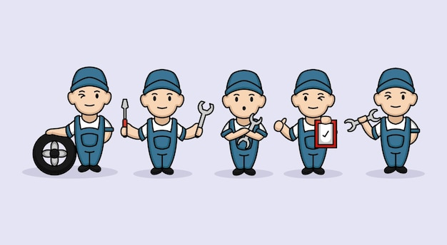 Set di simpatici ragazzi maschi riparatore
