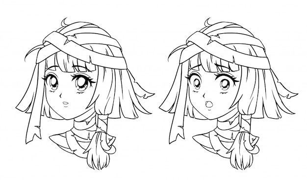 Set di ritratto di ragazza mummia manga carino. due espressioni diverse. illustrazione di contorno disegnata a mano stile retrò anime. isolato su sfondo bianco