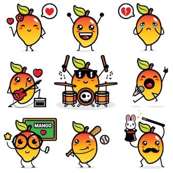Set di disegni vettoriali di mango carino