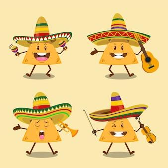Set di simpatici nachos della banda mariachi con cappello sombrero messicano che tiene illustrazione di strumenti musicali