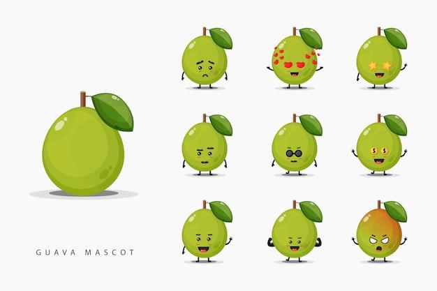 Set di simpatico guava mascotte