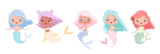 Set di simpatiche sirene in stile cartone animato favolosa sirenetta isolata su sfondo bianco