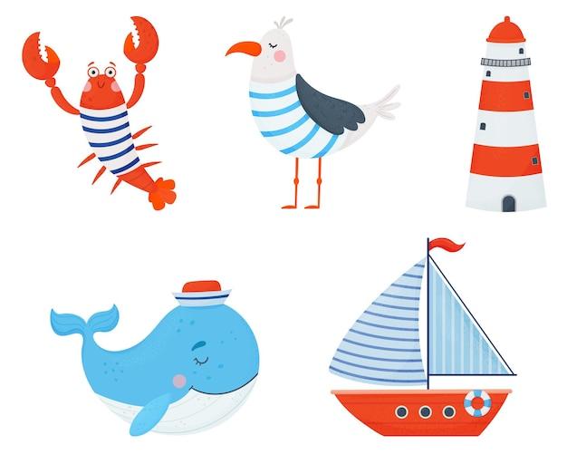 Set di elementi nautici carini. cartone animato disegnato a mano