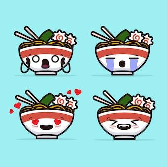 Set di carino noodle ramen mascotte design illustrazione