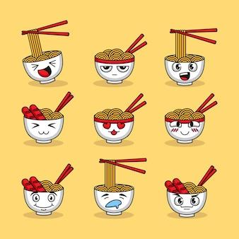 Set di ramen di spaghetti carini con varie espressioni