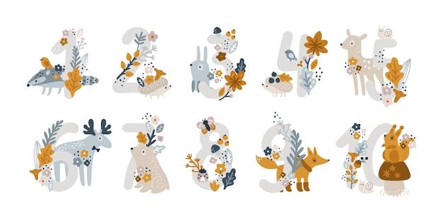 Set di simpatici caratteri numerici con simpatici animali ed elementi su sfondo bianco