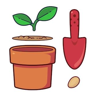 Set di oggetti carini sulle piante di avviamento del giardino kit di coltivazione per piantare il seme piantare alberi