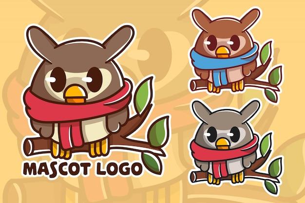 Set di simpatico logo mascotte gufo