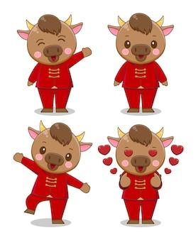 Set di bue carino in cartone animato vestito rosso, felice anno nuovo cinese