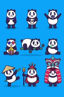 Un set di simpatici personaggi panda con varie attività e stili
