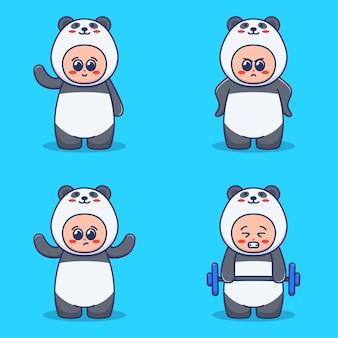 Set di simpatici personaggi in costume da panda