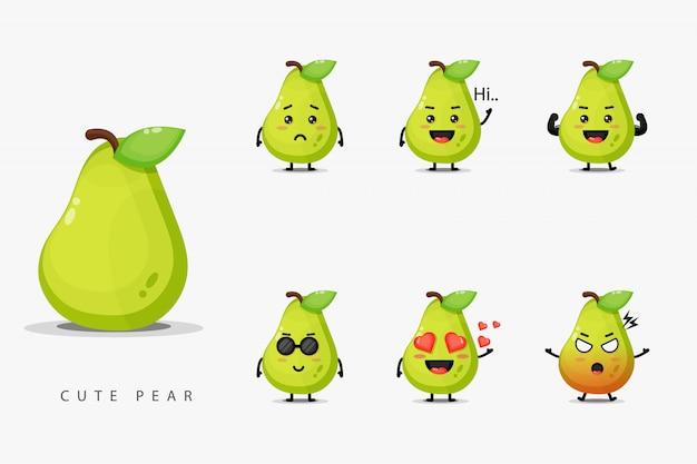 Set di simpatiche mascotte di pera