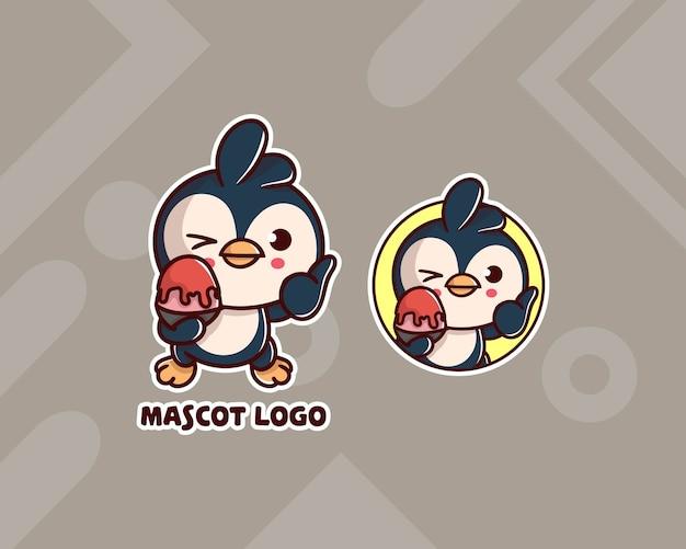 Set di simpatico logo bingsu pinguino con aspetto opzionale. kawaii