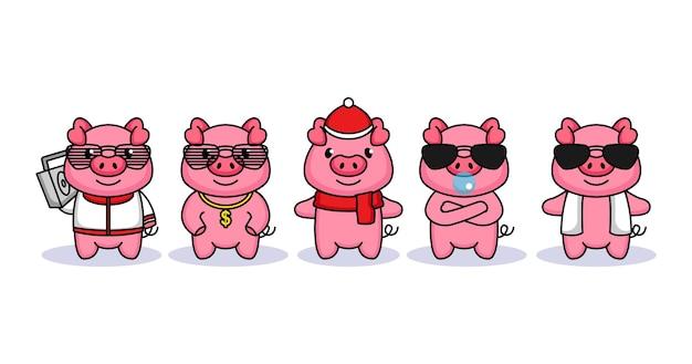 Set di maiale carino con costume funky