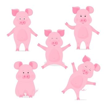 Una serie di simpatici personaggi dei cartoni animati piggy in diverse pose, seduti, in piedi, con la mano su e giù. maiale divertente. il simbolo del capodanno cinese