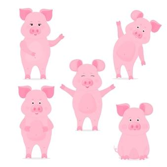 Una serie di simpatici personaggi porcellini in diverse pose, seduti, in piedi, con la mano su e giù. maiale divertente. il simbolo del capodanno cinese