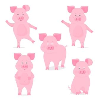Una serie di simpatici personaggi porcellini in diverse pose, seduti, in piedi, camminando, mani su e giù. maiale divertente. il simbolo del capodanno cinese