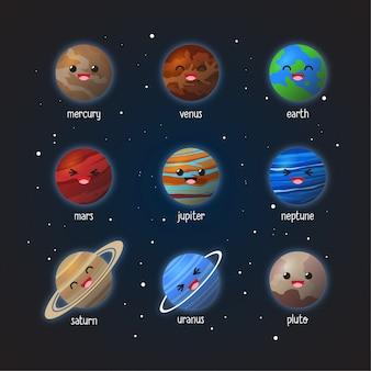 Set di simpatici pianeti design espressione