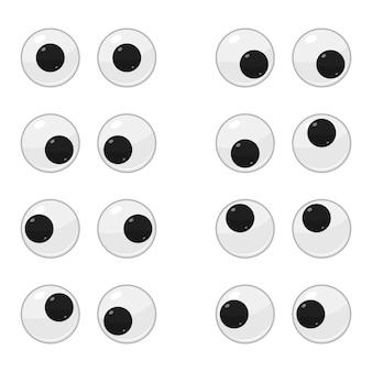 Set di occhi in movimento di plastica carino per i giocattoli