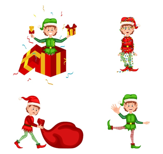 Set di simpatici elfi di natale giocosi