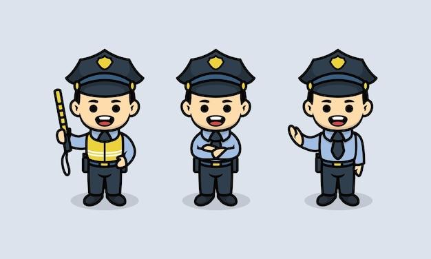 Set di simpatici modelli di illustrazione della mascotte del poliziotto della polizia