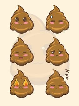 Set di simpatici personaggi dei cartoni animati di cacca e illustrazioni Vettore Premium