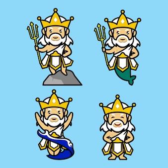 Set di simpatico design mascotte poseidon nettuno