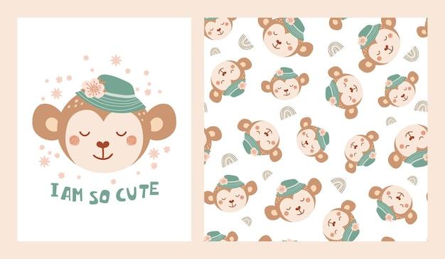 Imposta poster carino e motivo senza cuciture con scimmia in un cappello con fiori e poster con scritte sono così carino. collezione con animali per abbigliamento, tessuti, carte da parati per bambini. illustrazione vettoriale