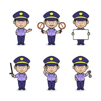 Set di simpatici poliziotti professionisti