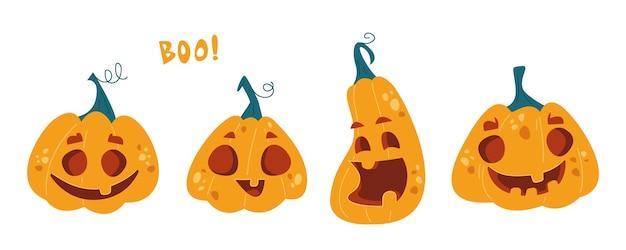 Set di zucche carine con facce e un sorriso clipart. mostri di halloween. illustrazione vettoriale in stile cartone animato. clipart isolato su sfondo bianco divertente