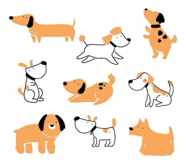 Set di carino cucciolo di cane da compagnia. accumulazione del cane felice e divertente. illustrazione di carattere animale del fumetto.