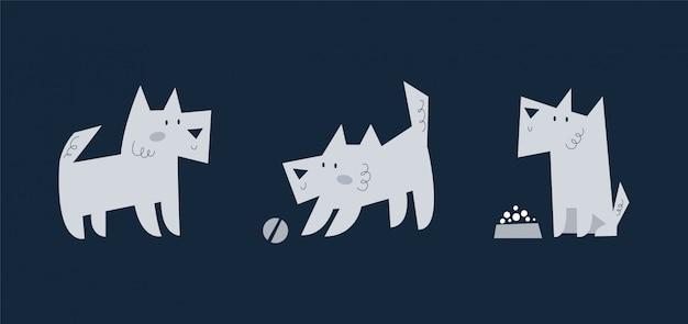 Set di simpatico cucciolo di cane di varie razze giocando, mangiando, camminando. collezione di animali da compagnia divertenti cartoni animati