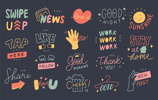 Set di simpatici citazioni doodle