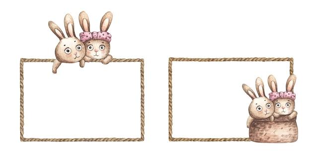 Set di simpatici conigli con telaio in corda marrone. illustrazione dell'acquerello.