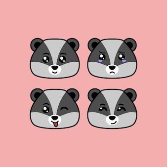 Imposta il simpatico personaggio dei cartoni animati di procione con un'illustrazione vettoriale di diverse espressioni