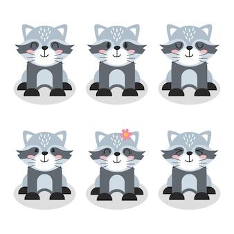 Set di simpatico personaggio procione fumetto illustrazione design piatto vector