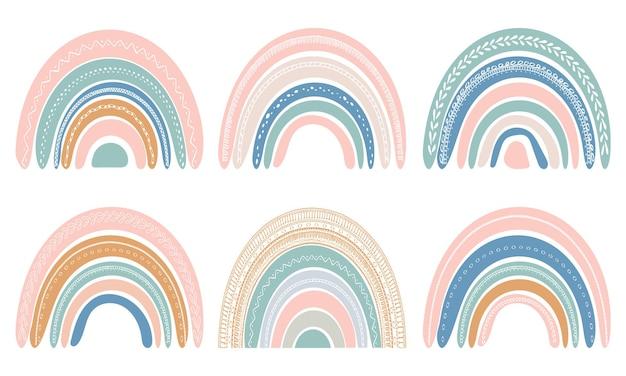 Set di simpatici arcobaleni in stile scandinavo. colori pastello dell'acquerello.