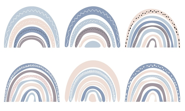 Set di simpatici arcobaleni in stile scandinavo. arcobaleno dell'acquerello isolato su sfondo bianco. colori pastello. arte moderna.