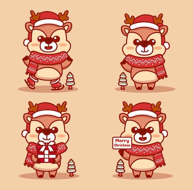Set di renne carine che celebrano il natale. pattinaggio sul ghiaccio, regalo in mano e testo di buon natale. vettore di cartone animato kawaii