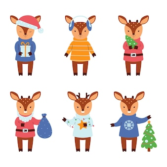 Set di renne carino isolato su sfondo bianco. personaggi piatti. illustrazione vettoriale.
