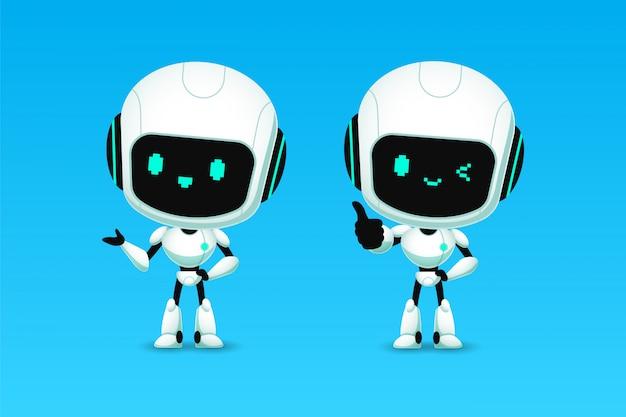 Set di simpatici robot ai personaggi mostrano pollice in su e presentazione