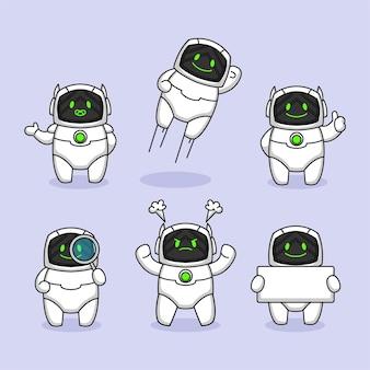Set di simpatici robot design futuristico mascotte