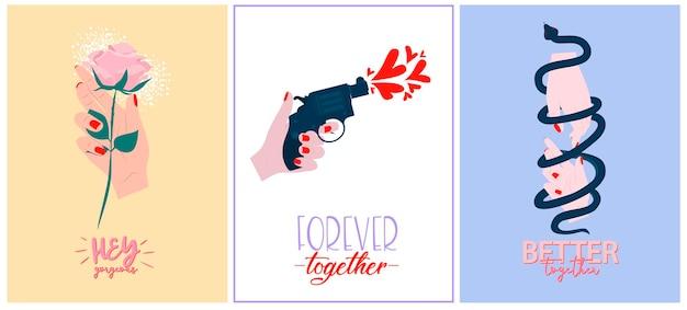 Set di simpatici biglietti di auguri romantici per san valentino. tipografia romantica ed elementi perfetti per le stampe.