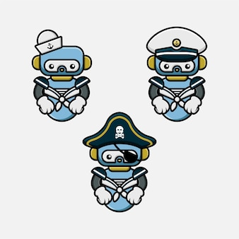 Set di simpatici personaggi mascotte robot marinaio e pirati