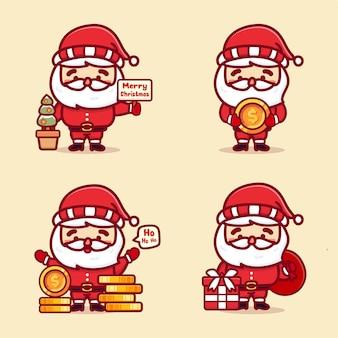 Set di simpatici babbo natale con sorpresa regalo, monete e denaro. vettore kawaii