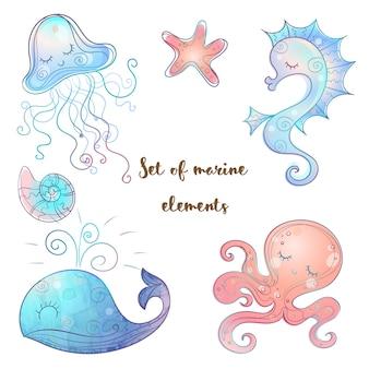 Set di simpatici animali marini polpo cavalluccio marino balene e meduse. vettore