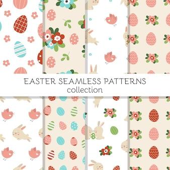 Set di simpatici modelli senza cuciture con simpatici coniglietti pasquali decorati con uova e fiori. simbolo tradizionale della pasqua.