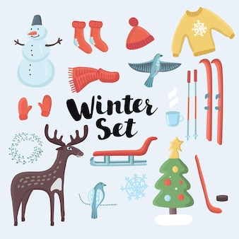 Set di oggetti natalizi invernali set carino